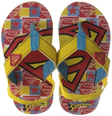 Superman Boys Yellow Plasti kids Flip-Flops and House Slippers - 2 UK/34 EU