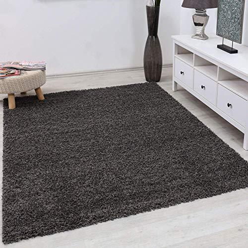 Vimoda Primo Shaggy Tappeto Colore Pelo Lungo tappeti Moderni per Soggiorno  Camera Letto, Dimensioni: 150 cm Quadrato - Antracite, 100x200 cm