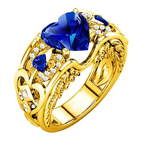 Diamant 7 Für Frauen Größe Ringe (FEITONG Verlobungsringe Edelstein für Damen und Männer, Rubin Edelsteine Ringe Herz Ringe Edelstahl Schmuck, Gold Silber (Größe:7(17mm), Gold-Blau))