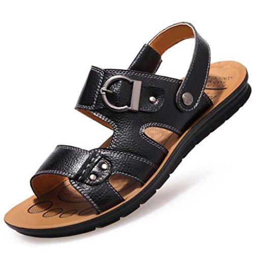 Men's Slip On Pu Leather Platform Sandals Black