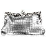 Homgaty Ladies Girls Silver Sparkly Diamante Crystal Satin Clutch Bag Evening Wedding Handbag Purse Bag
