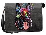 Deutscher Schäferhund Motiv Canvas Tasche - Hunde Umhängetasche : German Shepherd - Freizeittasche Hunde Neon Motiv