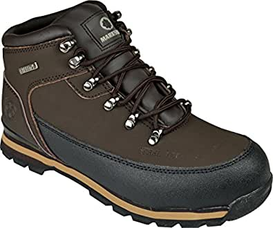 MENS SAFETY TRAINERS SHOES BOOTS WORK STEEL TOE CAP HIKER ANKLE BROWN (6 UK)