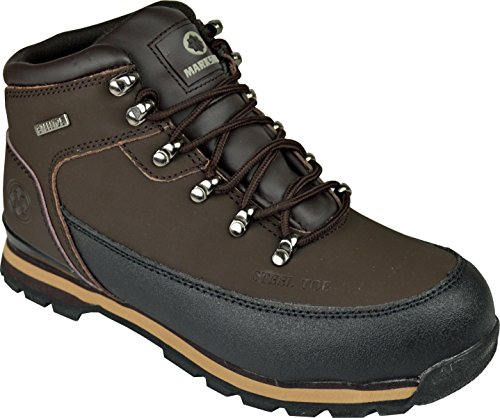 BARGAINS-GALORE Mens Safety Trainers Shoes Boots Work Steel Toe Cap Hiker Ankle Brown