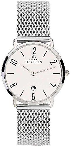 Michel Herbelin Bracelet en maille en acier inoxydable pour femmes en cuir blanc 16915/21B