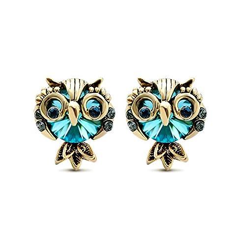 Lianjie Women's Cute Owl Stud Earrings Gold Plated Alloy Blue Crystal Gemstone
