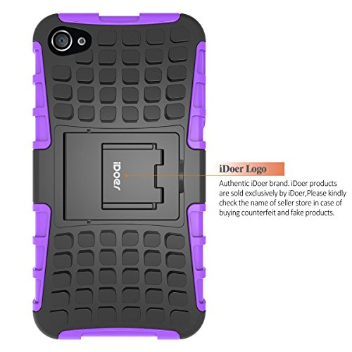 Custodia iPhone 4S,Cover iPhone 4,Shock-Absorption Bumper,Protettiva Stand Case,Copertura Protettiva in Plastica e TPU Custodia per iPhone 4 4S (verde) porpora
