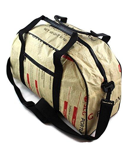 Reisetasche Handgepäck 46 x 20 x 26 cm Recycling Tasche Weekender aus Gewebeplane Thailand Zementsack Siambag Upcycling (Orange Camel) Red SCG