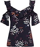 FIND Womens Floral Cold Shoulder Ruffle Blouse