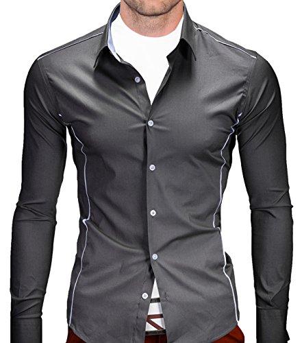 Better Sleep tylz Cusco camicia Slim Fit Camicia a maniche lunghe 4colori dinotech (S-XXL) Grau S