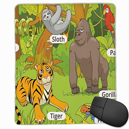Mouse Mat Stitched Edges, Jungle Animals Colorful Funny Hand Drawn Style Zoo Nature Tropical Wildlife,Gaming Mouse Pad Non-Slip Rubber Base A99 Base
