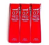 Uni Mechanical Pencil Lead Nano Dia Color 0.7mm, Red (U07202NDC.15),20 Leads ×3 Pack/total 60 Leads (Japan Import) [Komainu-Dou Original Package] by Uni-ball