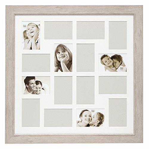 Deknudt Frames S48SH1P16 Cadre Photo Pêle Mêle 16 Photos Bois Blanc/Clair 10 x 15 cm