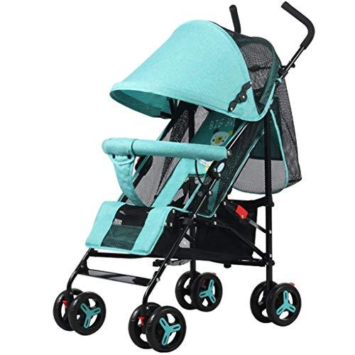 Kinderwagen Light Umbrella Car Allradkollisionsfalten kann vier Runden Baby Trolley liegen (Color : Green) -
