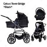 Bebebi   Modello London   3 in 1 Passeggini compatti per bambini Set   ruote in gomma dura - Tower Bridge