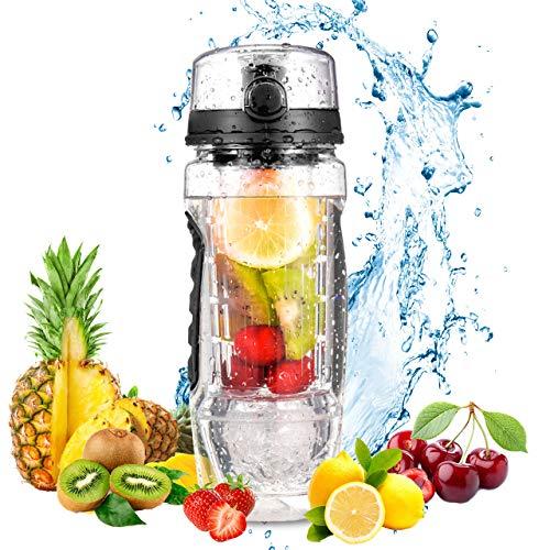OMORC Trinkflasche, Wasserflasche mit fruchteinsatz 1L BPA-Frei mit Gel Freezer Ball, Obst Fruit Infuser Trinkflasche Auslaufsicher Sports Trinkflasche mit Flaschenbürste Fahrradflasche für Sport Büro