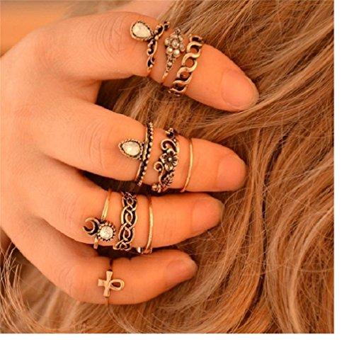 10pcs Orientalische Vintage Midi-Ringe Stapelringe Ring Set Schmuck-Set in Gold-Optik