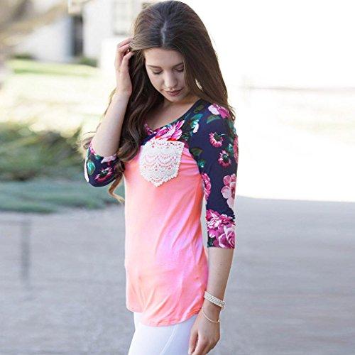 Zolimx Damen Floral Splice Printing Sommer Lose Tops Bluse Rosa