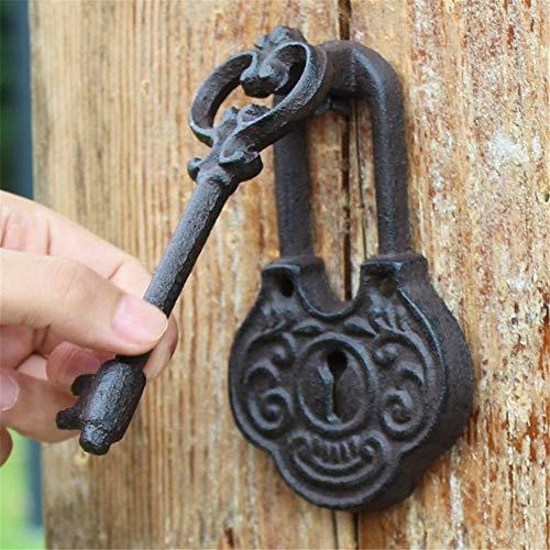 Manija de La Puerta Puerta decorativa de hierro Aldaba de estilo antiguo En forma de llave Fundido Rústico Vintage Puerta de hierro crudo Aldaba para casa de campo Patio Patio Casa adosada Casa señori