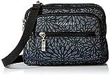 Baggallini Damen Triple Zip Bagg Tasche mit dreifachem Reißverschluss, Pewter Floral,...