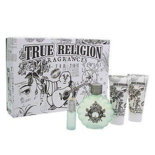 True Religion 4 Piece Gift Set (3.4 oz Eau de Parfum Spray + 0.25 oz Eau de Parfum Spray + 3.0 oz Shimmering Body Lotion + 3.0 oz Bath & Shower Gel) for Women by True Religion brand Jeans by True Religion