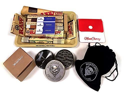 Set de regalo para fumador de la marca RAW, de estilo años 70, con bandeja de metal. Regalo ideal para ti o tus seres queridos