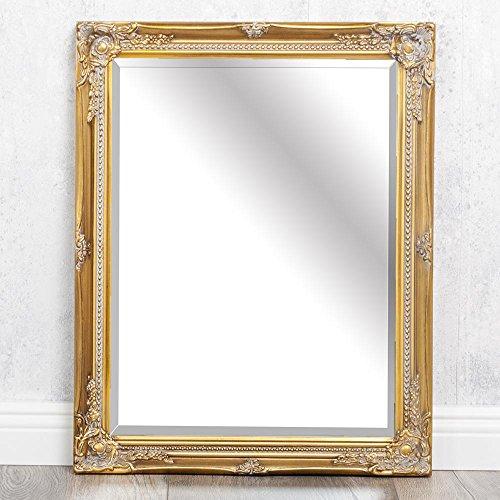 LEBENSwohnART Spiegel Gracy barock antik-Gold 50x40cm Wandspiegel Holzrahmen Facette