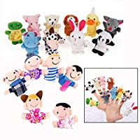 Jzhen 16 Pcs Cartoon Animal Finger Puppets Babies Cute Soft Finger Puppets Educational Toy Birthdays Gift for Family Kids