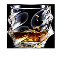 Benbroo European Style Diamond Shape Engraved Crystal Glass Whisky Cup Whisky Tumblers for Scotch, Bourbon, Whiskey (type25)