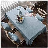 XIUXIU Einfache rechteckige Wohnzimmer tischtuch Stoff Baumwolle blau teetisch tischdecke (10 Größen erhältlich) (Größe : 130X220CM)