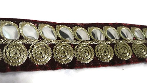 Golden Maroon Embroidered Ribbon Trim Ethnic Lace Crafting Apparel Golden Thread Border Tape Indian-Price per 01 Yard-Width 01 Inch-KB148 (Ribbon Woven Floral)