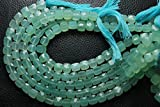 7 Inches Strand, Sea Green Aqua Chalcedony Faceted 3D CUBE BOX Briolettes/Nuggets, Size 8-9mm