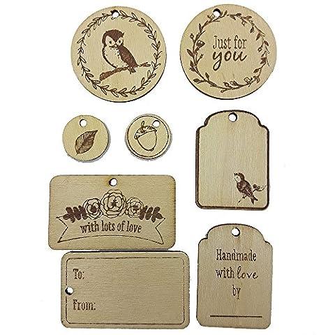 Étiquettes de cadeau de décoration en bois Scrapbooking juste pour vous fait à la main avec amour