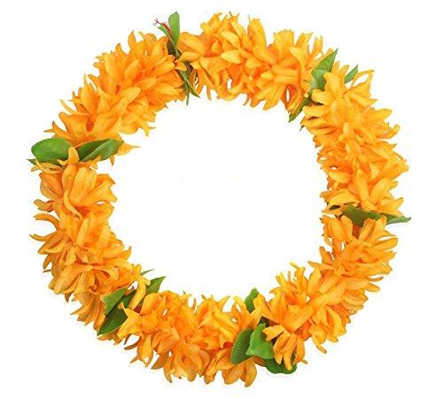 2-piezas-de-Hawaiian-Luau-anaranjada-de-la-flor-colorida-Leis-Collares