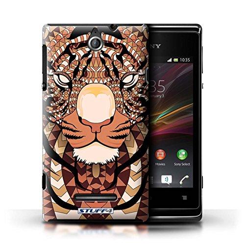 Kobalt® Imprimé Etui / Coque pour Sony Xperia E / Singe-Sépia conception / Série Motif Animaux Aztec Tigre-Orange
