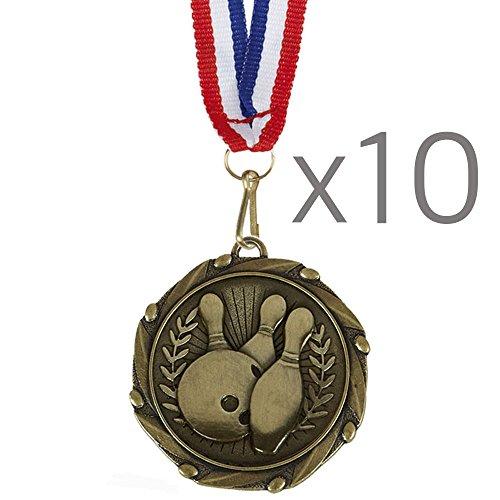 10Stück x Gold Combo Ten Pin Bowling Medaillen mit Rot, Weiß & Blau Bänder 45mm (13/4?) (Gold-medaille-combo)
