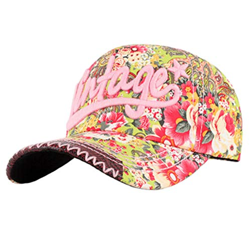 Damen & Herren Baseball Flexfit Cap Hip-Hop-Stil Hut Bunte Blumen-Rosa