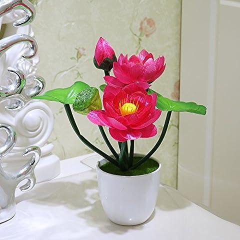 XIN HOME Emulation artificial flower kit small Lotus Lotus lotus flower decoration desktop, mini lotus pond in red with