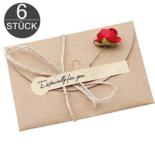 Grußkarten 6 Stück Retro Glückwunschkarten DIY Kraftpapier zum Selbst Gestalten 17,5x11cm mit handgefertigter getrockneter Blume, Jute-Schnur zur kreativen individuellen Gestaltung + Aufkleber wortek