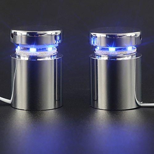 LED Schild noch Abstandsbolzen 2,5cm 2,5cm Silber Aluminium oder Chrom poliert, für Glas, Acryl und andere transparent Teller, 2Stück. Blue Light poliertes chrom