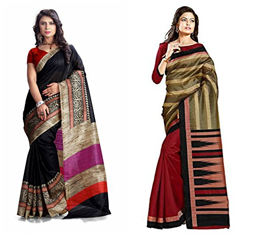 A G Lifestyle Exclusive Black and Maroon colored Bhagalpuri combo Sarees Collection With Unstitched Blouse Piece.