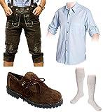 Herren Trachten Set C 5-teilig Trachten Lederhose Dunkelbraun 46-60 Trachtenhemd Schuhe Socken (Wählbar Hose 46-60 Hemd S-XXXL Schuhe/Socken 41-46)