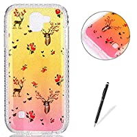 LG K3 2017 Case Silicone,[with Free Black Touch Stylus] KaseHom Gradient Colour Gold and Pink Soft TPU Bumper Skin Bling Glitter Diamond Unique Fashion Design Pattern Ultra Slim Shell Shockproof Anti-Scratch Protective Cover for LG K3 2017,Deer Flowers