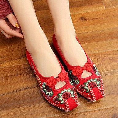 Damen-Flache Schuhe-Outddor Lässig Sportlich-Leinwand-Flacher Absatz-Neuheit Bestickte Schuhe Komfort-Schwarz Rot ruby