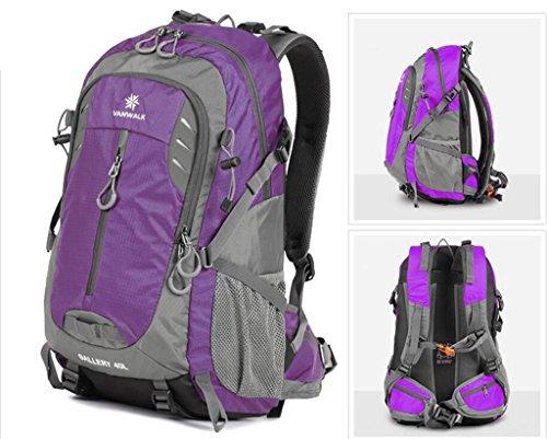 Outdoor-Freizeit Sporttasche Männer und Frauen Bergsteigen Tasche mit großer Kapazität Beutel-Spielraum-Rucksack Lila