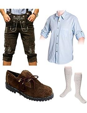 Herren Trachten Set C 5-teilig Trachten Lederhose dunkelbraun 46-60 Trachtenhemd Schuhe Socken