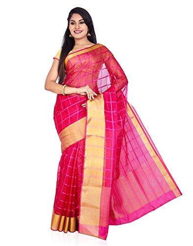 Roopkala Silks & Sarees Organza Saree (Sv-1523_Dark Pink)
