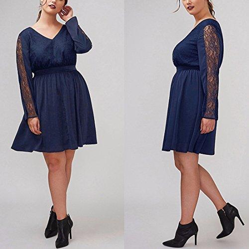 QIYUN.Z Femmes V-Neck À Manches Longues En Dentelle A-Line Style Tunique Robe Robe Plus Taille Bleu Foncé