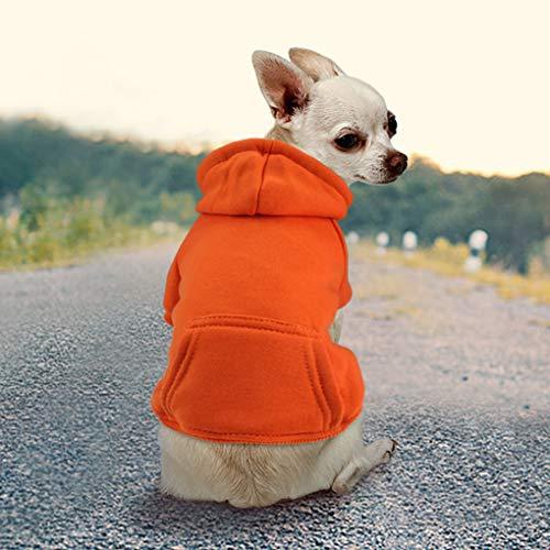 Idepet Haustier Kleidung Hundepullover Hunde Kleider welpen Pullover Hunde Warmer Mantel für Katzen Kleine Hunde Chihuahua Welpe Teddy Pudel (XS, Orange)