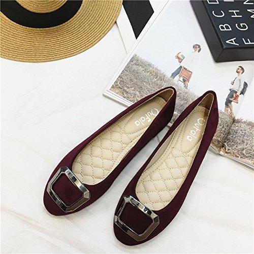WYMBS Le nouveau bouton latéral chaussures femmes talon plat chaussures confortables télévision bouche peu profondes avec les chaussures pour femmes Wine Red